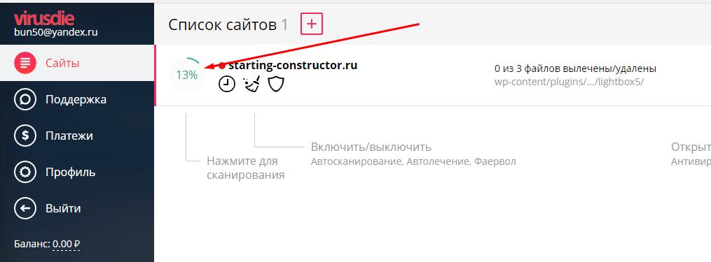 процесс проверки сайта на вирусы