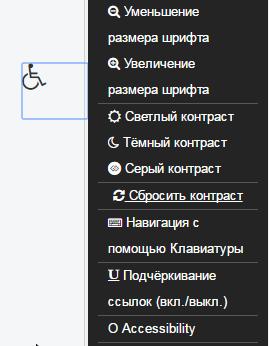 панель модуля accessibility
