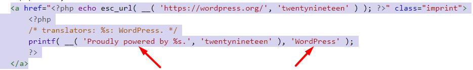 """Как убрать надпись """"Сайт работает на wordpress"""""""